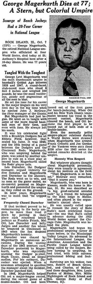 New York Times - October 6th 1966 - Obit